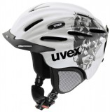 Skihelm - uvex ultrasonic pro graphics - white   silver deco