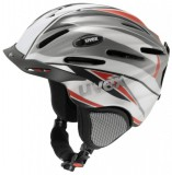 Skihelm - uvex ultrasonic pro graphics - silver   red deco